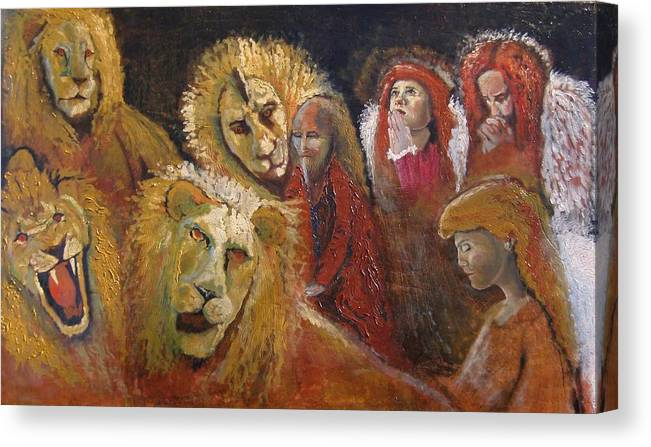 Angels Canvas Print featuring the painting Praying for Daniel Finished by J Bauer