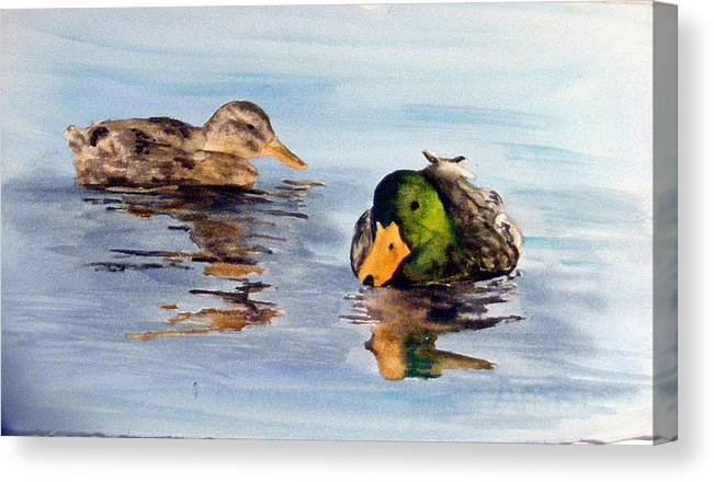 Ducks Canvas Print featuring the painting Reflections two by Diane Ziemski