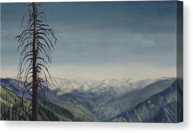 Sequoia National Park Canvas Print featuring the painting Sky blue by Howard Stroman
