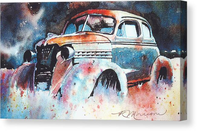 Chev Canvas Print featuring the painting StarlightChevy by Ron Morrison