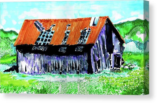 Tattered Prairie Barn Canvas Print featuring the drawing Tattered Prairie Barn by Seth Weaver