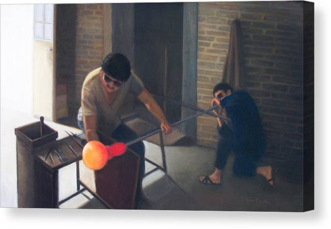 Glassblowers Canvas Print featuring the painting The Glassblowers by Diane Caudle