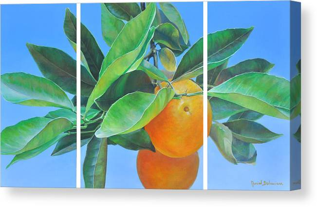 Acrylic Painting Canvas Print featuring the painting Triptyque Orange by Muriel Dolemieux