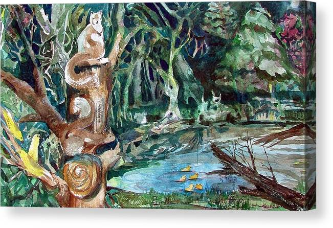 Squirrels Canvas Print featuring the painting Woodland Critters by Mindy Newman