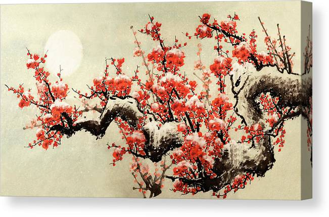 Chinese Culture Canvas Print featuring the digital art Plum Blossom by Vii-photo