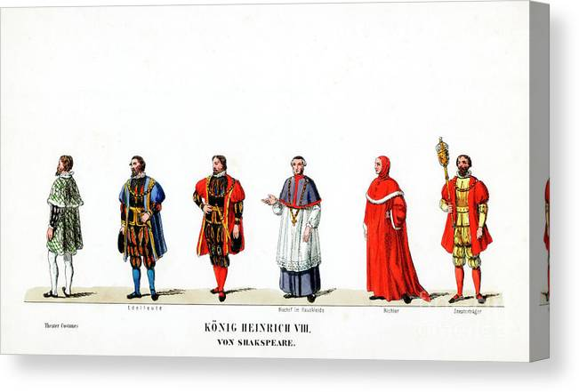 Engraving Canvas Print featuring the drawing Theatre Costume Designs by Print Collector