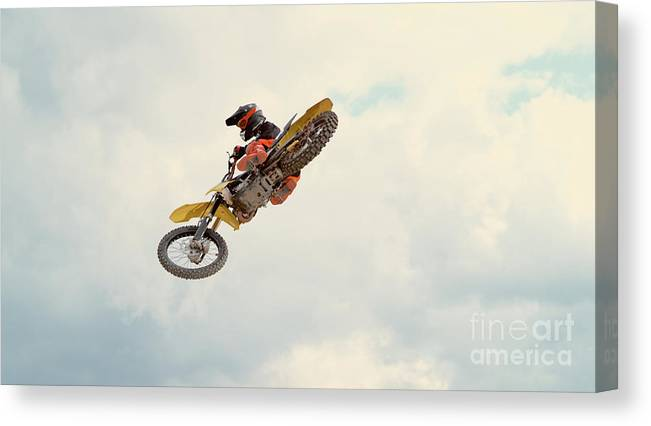 Expertise Canvas Print featuring the photograph Motorbike Riding by Simonkr