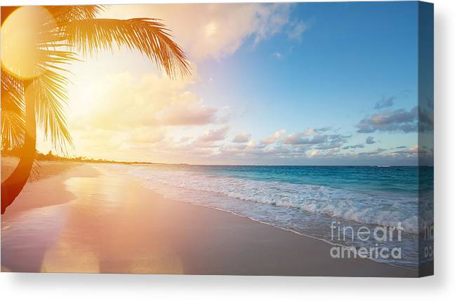 Bermuda Canvas Print featuring the photograph Art Beautiful Sunrise Over The Tropical by Konstanttin