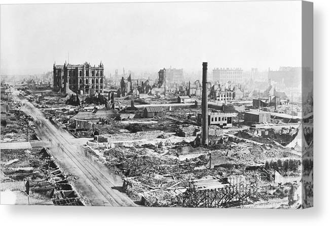 Burnt Canvas Print featuring the photograph Chicago Fire Of 1871 by Bettmann