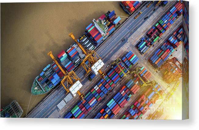 Working Canvas Print featuring the photograph Container Ship In Import Export by Thatree Thitivongvaroon