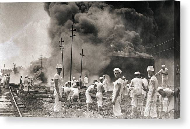 People Canvas Print featuring the photograph Fire In Oil Plant In Mexico by Bettmann