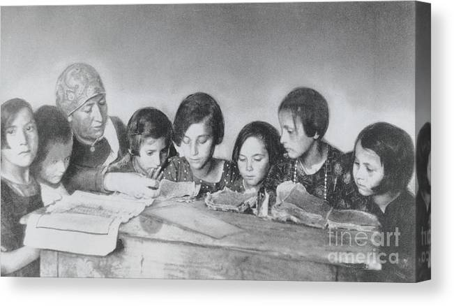 Education Canvas Print featuring the photograph Jewish Teacher With Her Girl Students by Bettmann