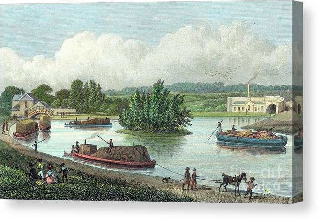 Horse Canvas Print featuring the drawing Junction Of Regents Canal At Paddington by Print Collector