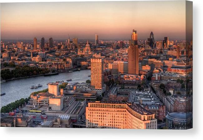 Cityscape Canvas Print featuring the photograph London Cityscape At Sunset by Michael Lee