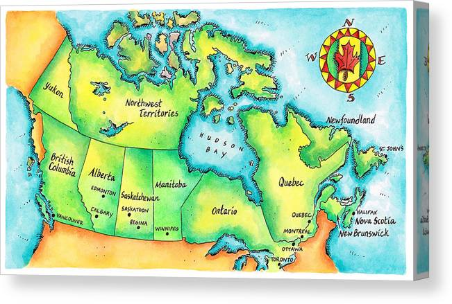 Watercolor Painting Canvas Print featuring the digital art Map Of Canada by Jennifer Thermes