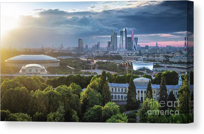 Scenics Canvas Print featuring the photograph Moody Cityscape Of Moscow – Luzhniki by Sergey Alimov
