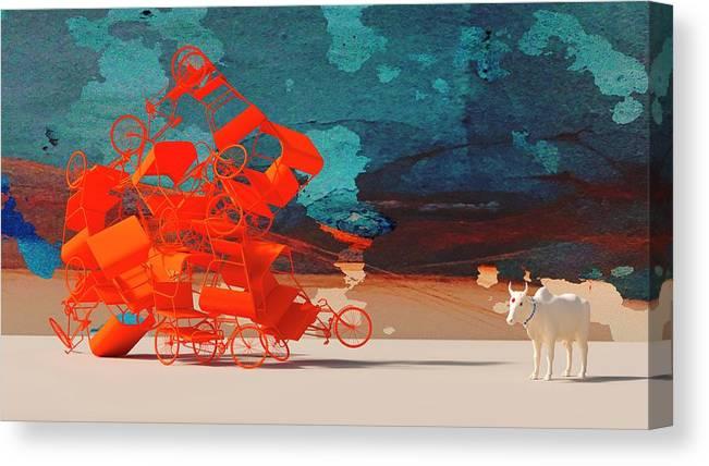 Rickshaw Canvas Print featuring the digital art Rickshaw Pileup and Cow by Heike Remy