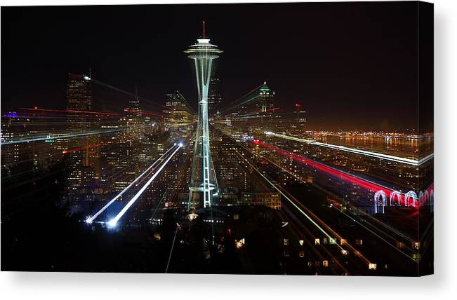 Laser Canvas Print featuring the photograph Seattle Skyline Laser Show by Jonkman Photography