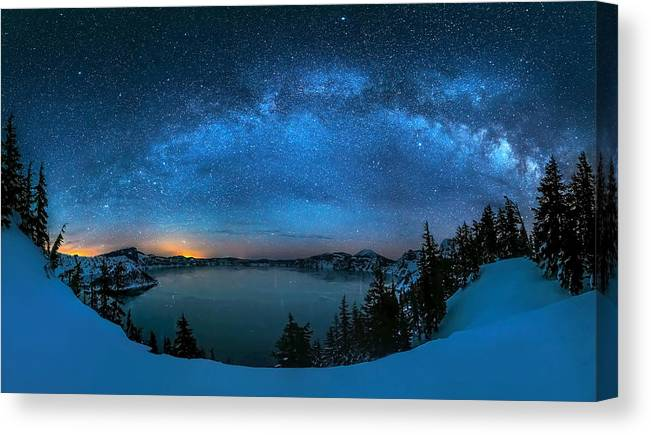 Starry Canvas Print featuring the photograph Starry Night Over The Crater Lake by Hua Zhu
