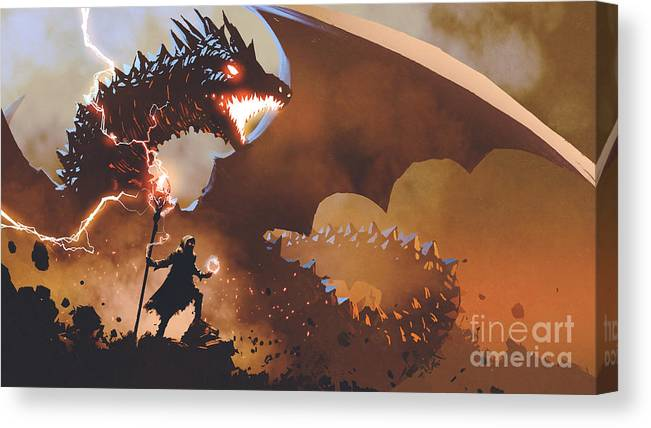 Illustration Canvas Print featuring the painting The Dragon Wizard by Tithi Luadthong