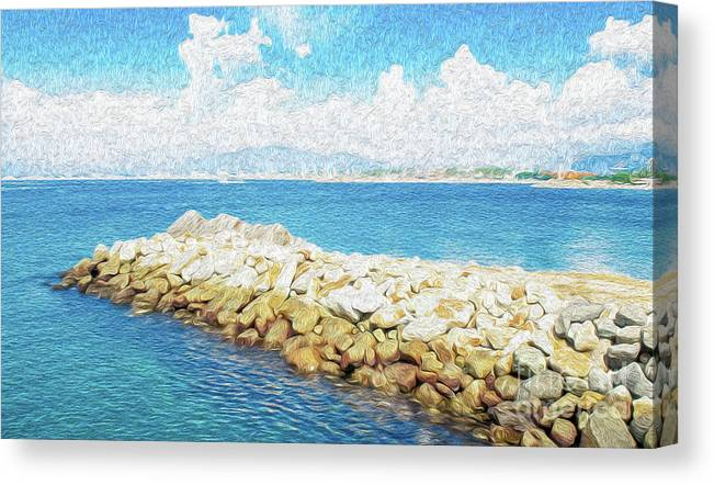 Manzanillo Canvas Print featuring the digital art The Jetty in Manzanillo, Mexico by Kenneth Montgomery