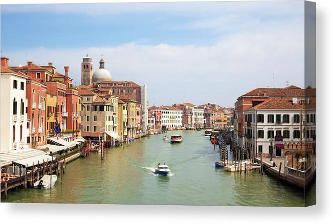 Motorboat Canvas Print featuring the photograph Venice Grand Canal Scene, Veneto Italy by Romaoslo