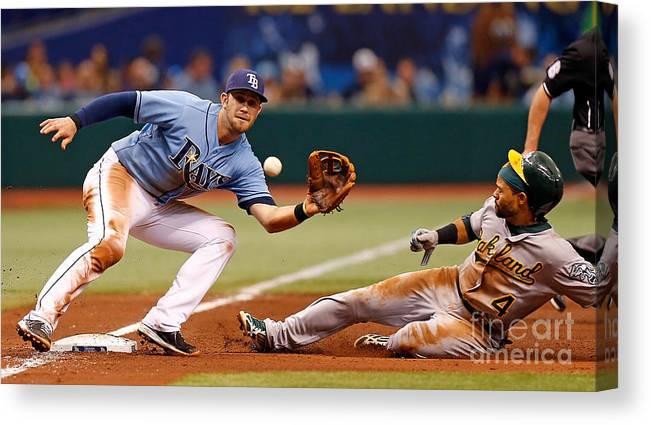 American League Baseball Canvas Print featuring the photograph Evan Longoria and Coco Crisp by J. Meric