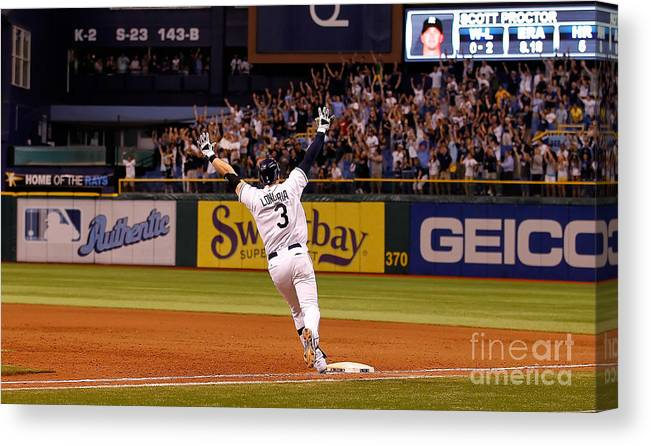 American League Baseball Canvas Print featuring the photograph Evan Longoria by J. Meric