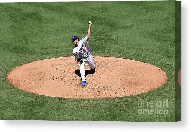 People Canvas Print featuring the photograph Clayton Kershaw by Jayne Kamin-oncea