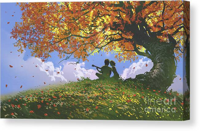 Illustration Canvas Print featuring the painting A Song For Us In Autumn by Tithi Luadthong