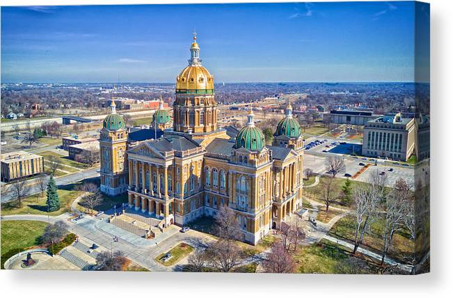 Built Structure Canvas Print featuring the photograph Aerial Of Iowa Capital March 4 2017 by Monte Goodyk