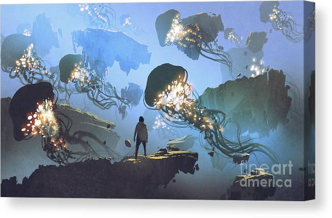 Illustration Canvas Print featuring the painting Another surreal world by Tithi Luadthong