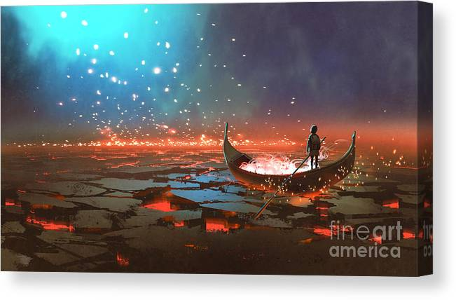 Illustration Canvas Print featuring the painting Boatboy by Tithi Luadthong