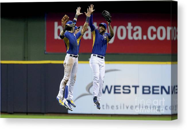 People Canvas Print featuring the photograph Domingo Santana and Ryan Braun by Dylan Buell