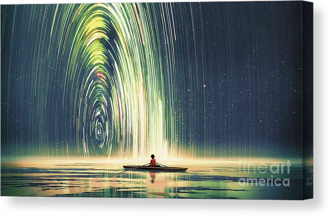 Illustration Canvas Print featuring the painting Edge Of The World by Tithi Luadthong