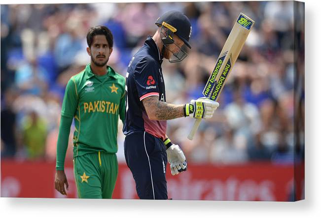Three Quarter Length Canvas Print featuring the photograph England v Pakistan - ICC Champions Trophy by Philip Brown