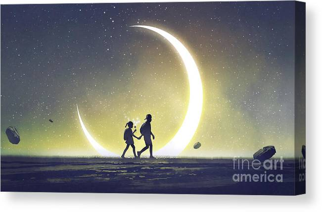 Illustration Canvas Print featuring the painting I will take you to a special place by Tithi Luadthong