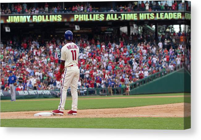 Citizens Bank Park Canvas Print featuring the photograph Jimmy Rollins by Mitchell Leff