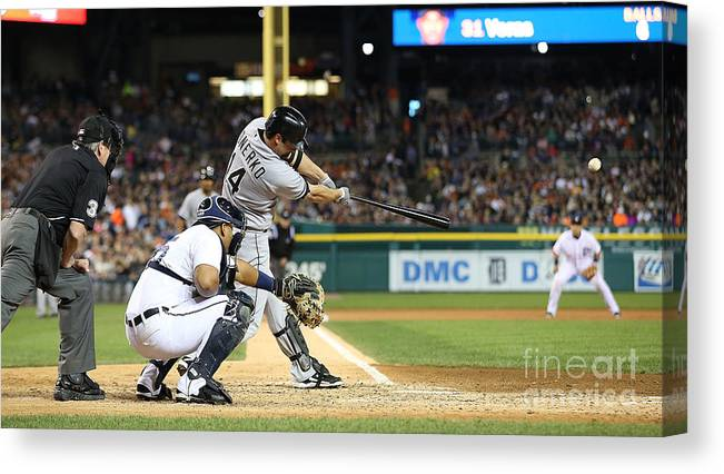 American League Baseball Canvas Print featuring the photograph Marcus Semien and Paul Konerko by Leon Halip