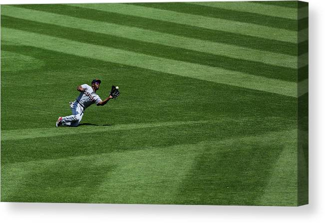 People Canvas Print featuring the photograph Michael Bourn and Alex Gordon by Ed Zurga