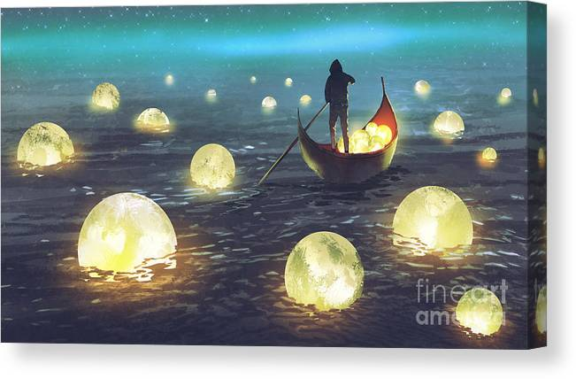 Illustration Canvas Print featuring the painting Moon Picking by Tithi Luadthong