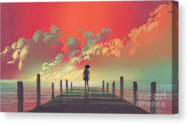 Illustration Canvas Print featuring the painting My Dream Place by Tithi Luadthong