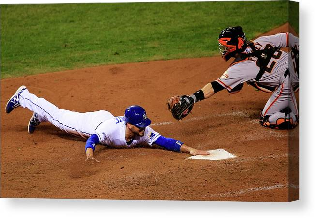 People Canvas Print featuring the photograph Omar Infante and Buster Posey by Jamie Squire