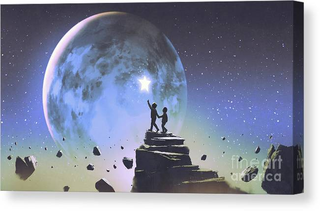 Illustration Canvas Print featuring the painting Reaching Out For The Little Star by Tithi Luadthong
