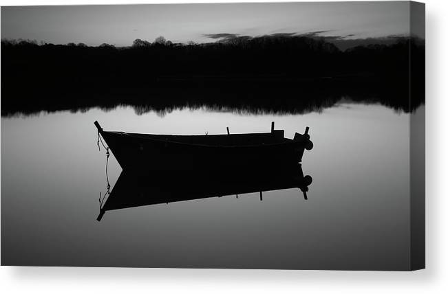 Row Boat Canvas Print featuring the photograph Row Boat Silhouette Reflection by Dapixara Art