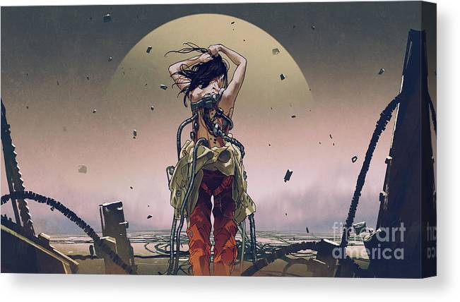 Illustration Canvas Print featuring the painting Solar Charging Cyborg by Tithi Luadthong