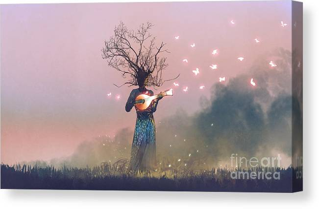 Illustration Canvas Print featuring the painting The Aesthetics of Nature by Tithi Luadthong
