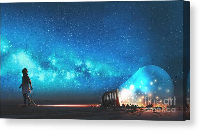 Illustration Canvas Print featuring the painting The Big Light Bulb by Tithi Luadthong