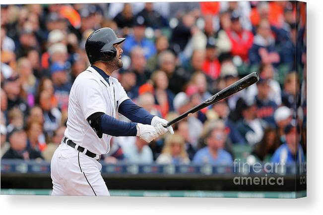 Second Inning Canvas Print featuring the photograph Yoenis Cespedes and Alex Avila by Leon Halip
