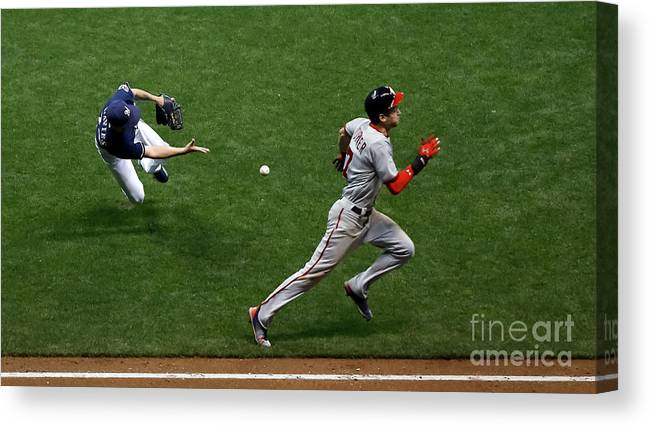 People Canvas Print featuring the photograph Zach Davies and Trea Turner by Jon Durr